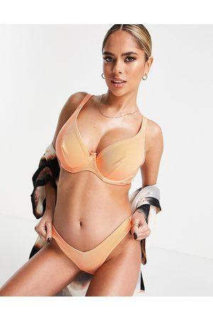 ASOS Coppe Grandi - Top bikini mix and match in raso a coste lucido con ferretto e orlo anteriore a due altezze