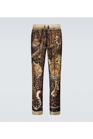 Dolce & Gabbana Uomo Pigiami - Pantaloni in seta con stampa leopardo
