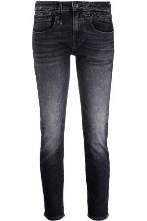 R13 Jeans crop a vita bassa