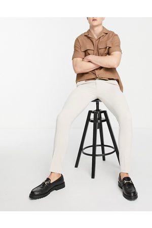 ASOS Pantaloni Oxford eleganti super skinny grigio pietra-Neutro