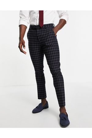 ASOS Wedding - Pantaloni da abito super skinny in misto lana navy a quadri
