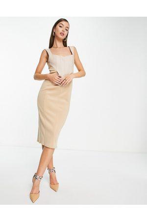 ASOS Donna Vestiti longuette - Vestito longuette in lino beige pietra con corsetto-Neutro
