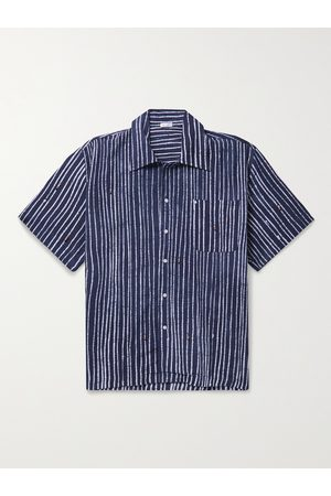 Post-imperial Striped Beaded Indigo-Dyed Cotton Shirt