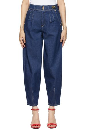 VERSACE Donna Boyfriend jeans - Navy Tapered Mom-Fit Jeans