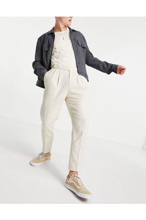 ASOS DESIGN Uomo Chinos - Pantaloni affusolati eleganti color pietra con tratteggio incrociato-Neutro