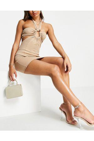 ASOS DESIGN Donna Vestiti da sera - Vestito corto allacciato al collo con scollo rotondo ad anello color pietra testurizzato-Neutro