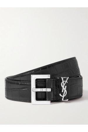 SAINT LAURENT Uomo Cinture - 3cm Croc-Effect Leather Belt