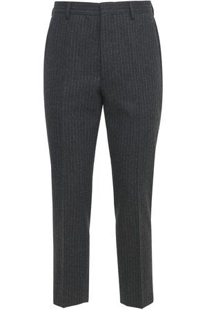 Prada Pantaloni In Flanella Gessata Di Lana 18cm