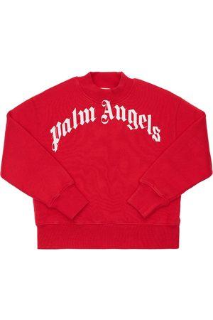 Palm Angels Bambina Felpe - Felpa In Cotone Con Stampa Logo