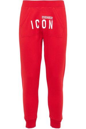 Dsquared2 Pantaloni In Felpa Di Cotone Con Logo