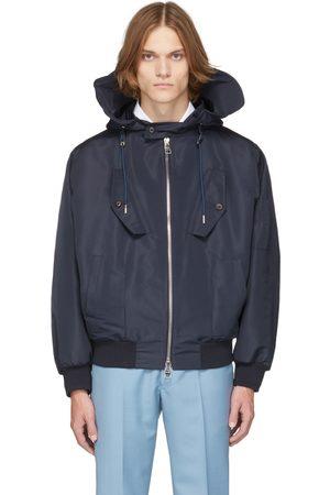 Alexander McQueen Uomo Outdoor jackets - Navy Hooded Windbreaker Jacket