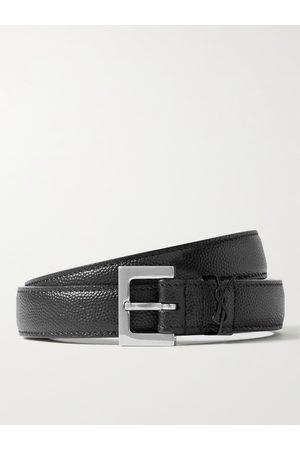Saint Laurent 2cm Pebble-Grain Leather Belt
