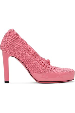 Fendi Pink Knit Stretch Heels