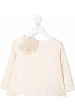 BONPOINT Bambina Bluse - Blusa con fiocco - 002 BLANC LAIT