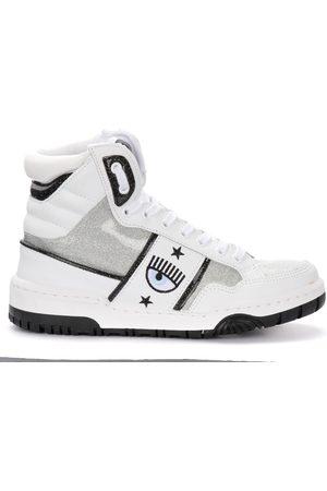 Chiara Ferragni Collection Donna Sneakers - Sneaker alta Chiara Ferragni in pelle bianca e glitter
