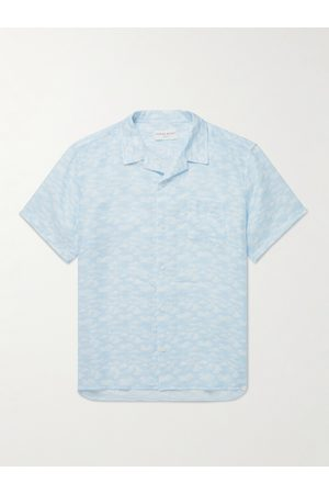 DEREK ROSE Camp-Collar Printed Linen Shirt