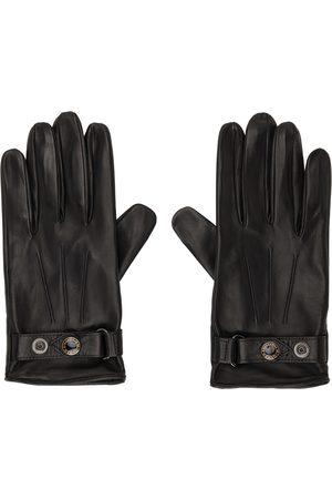 Alexander McQueen Uomo Guanti - Black & Gold Leather New Biker Gloves