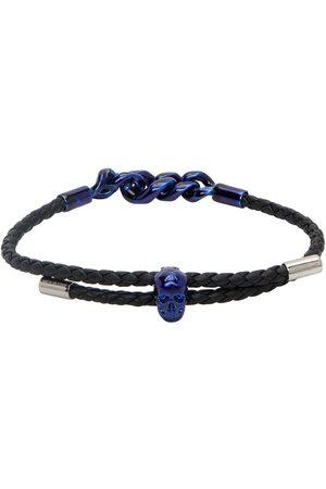 Alexander McQueen Black Leather Chain Link Bracelet
