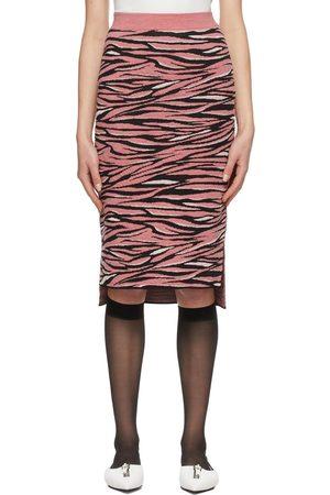 Stella McCartney Pink & Black Animal Pattern Mid-Length Skirt