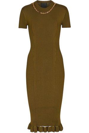 Givenchy Abito midi in maglia a coste con catena