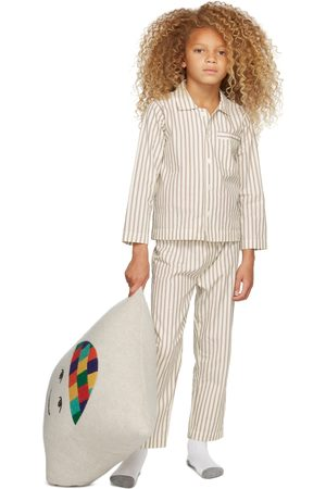 Tekla Kids Pigiami - SSENSE Exclusive Kids White & Brown Striped Sleepwear Set