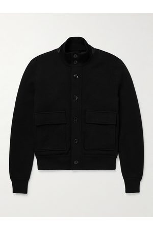TOM FORD Uomo Giacche di pelle - Leather-Trimmed Merino Wool Bomber Jacket