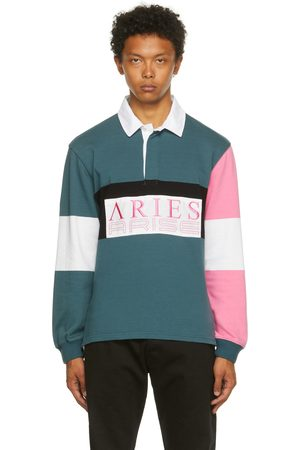 ARIES Uomo Polo - Blue & Pink Colorblocked Rugby Long Sleeve Polo