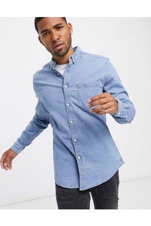 ASOS DESIGN Camicia di jeans slim elasticizzata lavaggio candeggiato