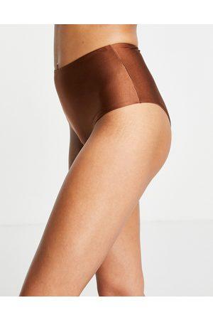 ASOS DESIGN Mix and Match - Slip bikini marroni a vita alta