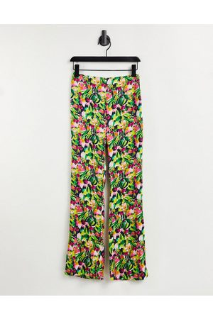 Liquorish Pantaloni a vita alta con stampa a fiori in coordinato
