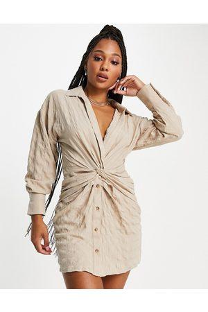 ASOS DESIGN Vestito camicia con nodo sul davanti cammello-Neutro