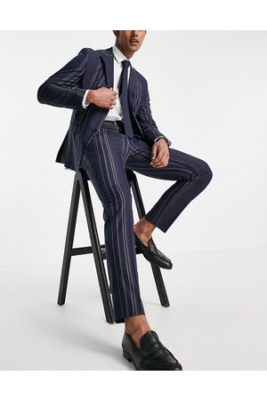 Selected Homme Pantaloni da abito slim navy a righe bianche