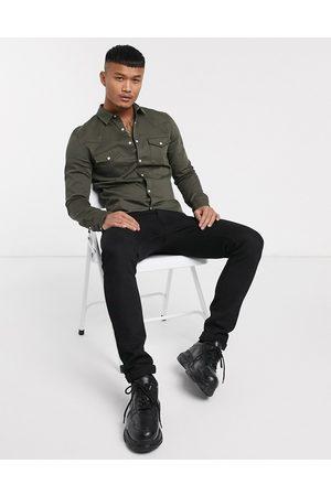 ASOS DESIGN Camicia di jeans skinny stile western kaki
