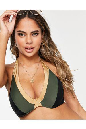 Figleaves Coppe Grandi - Top bikini allacciato al collo con ferretto kaki e oro