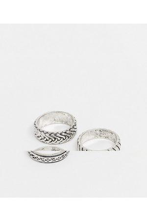 ASOS DESIGN Confezione da 3 anelli a fascia goffrati brunito