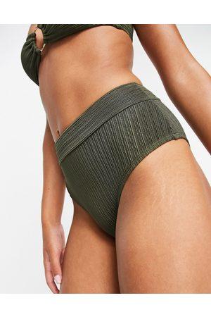 Accessorize Slip bikini a vita alta a coste, colore kaki