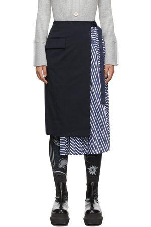 SACAI Navy Stripe Pleated Suiting Skirt