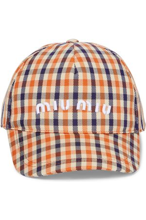 Miu Miu Cappello da baseball in misto cotone a quadri