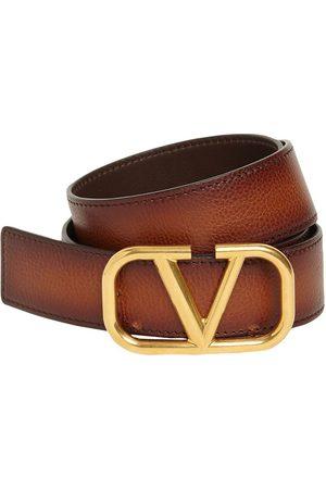 """VALENTINO GARAVANI Cintura """"v"""" In Pelle Con Fibbia 3.5cm"""