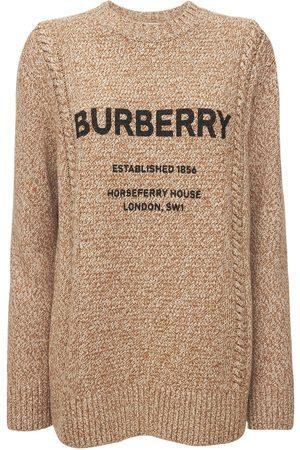 """Burberry Maglia """"mabel"""" In Cotone E Lana Con Logo"""