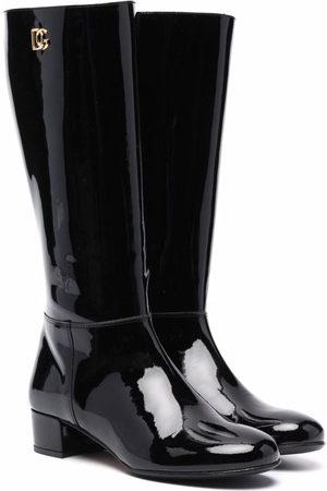 Dolce & Gabbana Kids Bambina Stivali - Stivali con placca logo