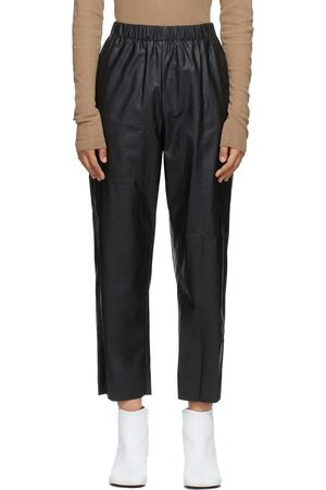 MM6 MAISON MARGIELA Black Faux-Leather Pull-On Trousers
