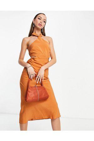 ASOS Donna Vestiti da sera - Vestito midi testurizzato color ruggine allacciato al collo con fascette posteriori arricciate