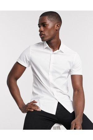 ASOS Camicia elasticizzata da ufficio slim bianca