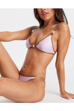 River Island Donna Bikini - Slip bikini lilla con finiture metallizzate laminate