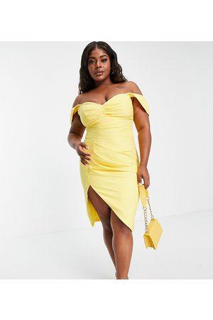 Lavish Alice Vestito midi limone a pieghe con scollo alla Bardot