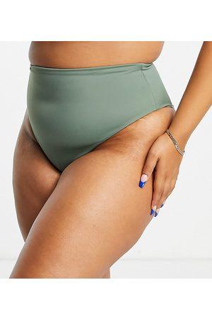 ASOS ASOS DESIGN Curve - Slip bikini a vita alta kaki