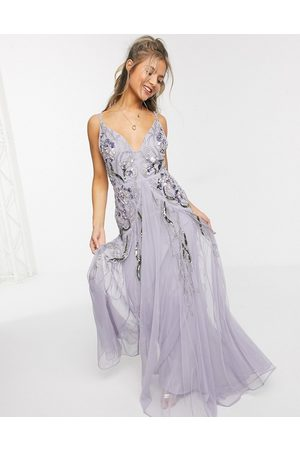 ASOS Vestito lungo a godet in tessuto a rete decorato a fiori lilla