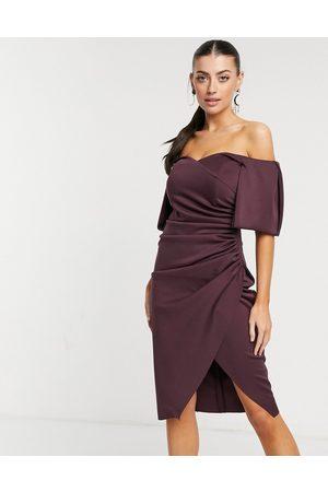 ASOS Donna Vestiti da sera - Vestito midi avvolgente plissettato con scollo a cuore alla Bardot prugna