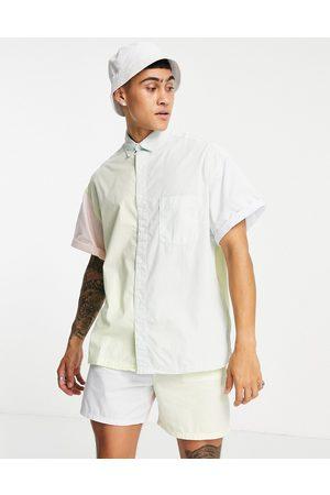 ASOS Camicia squadrata oversize in popeline, colore pastello color block slavato in coordinato